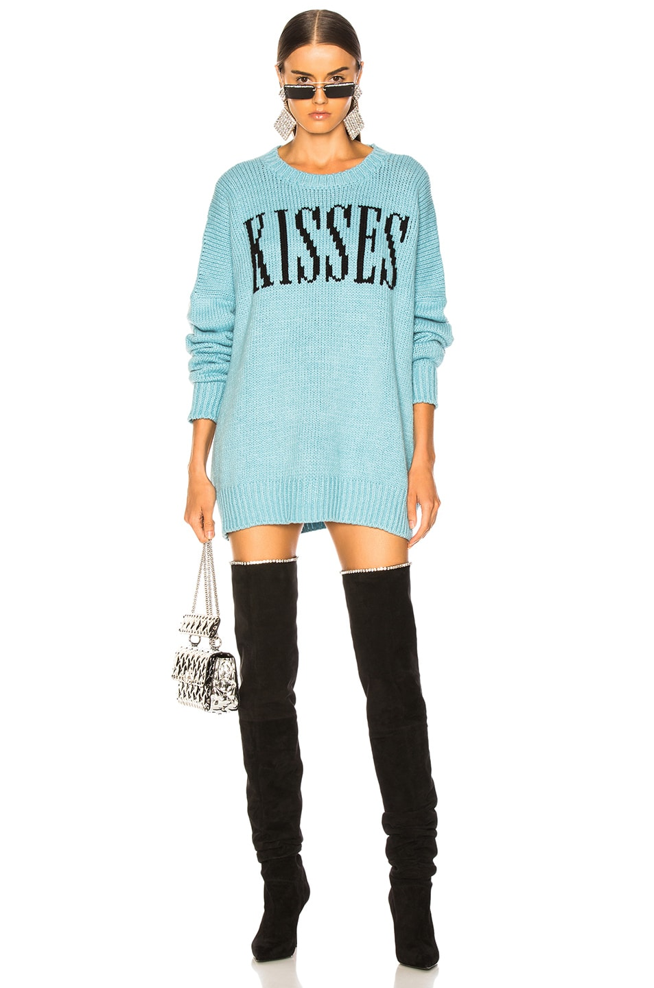 Image 1 of Amiri Kisses Oversized Sweater in Light Blue & Black