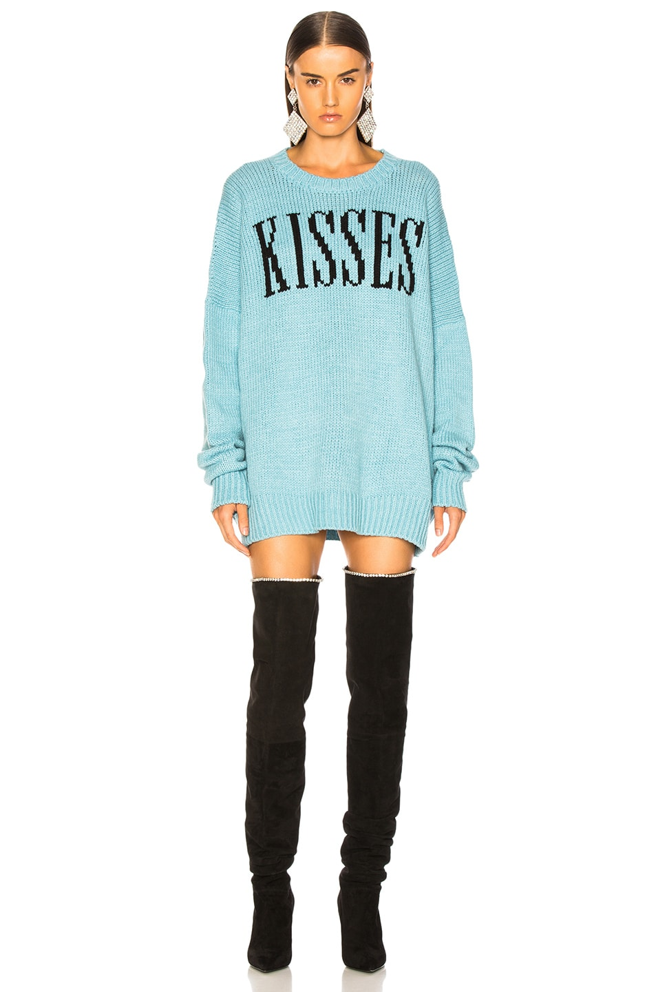 Image 2 of Amiri Kisses Oversized Sweater in Light Blue & Black