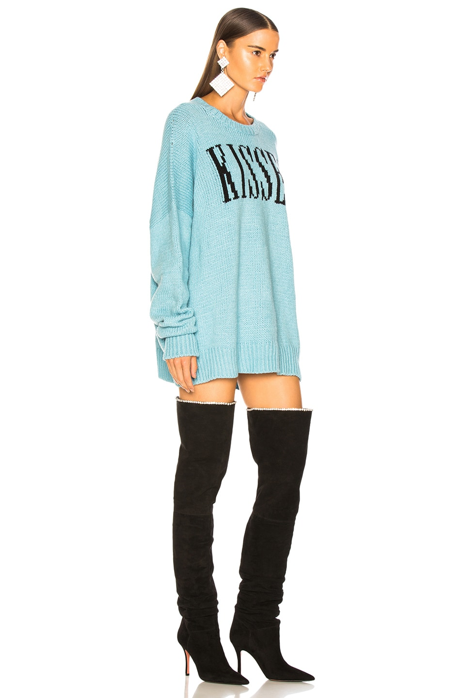 Image 3 of Amiri Kisses Oversized Sweater in Light Blue & Black