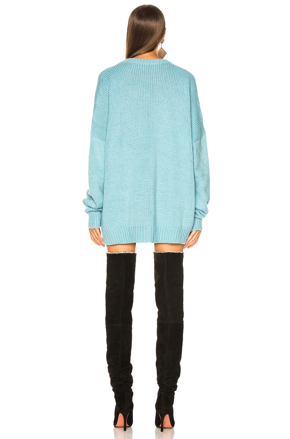 Image 4 of Amiri Kisses Oversized Sweater in Light Blue & Black