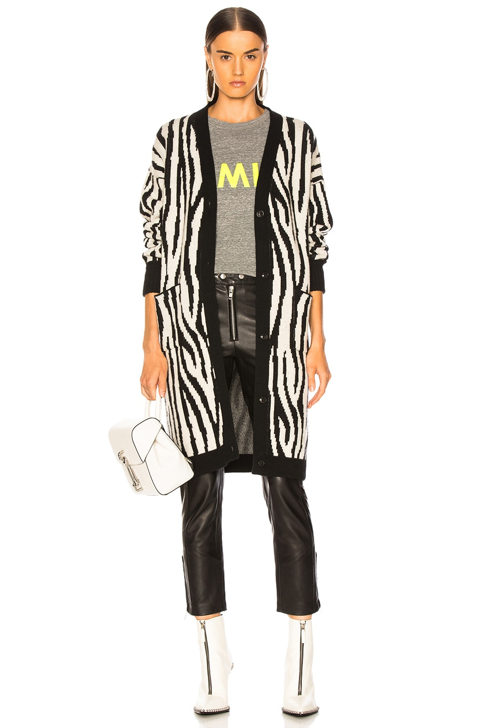 Image 1 of Amiri Zebra Long Cardigan in Black & White