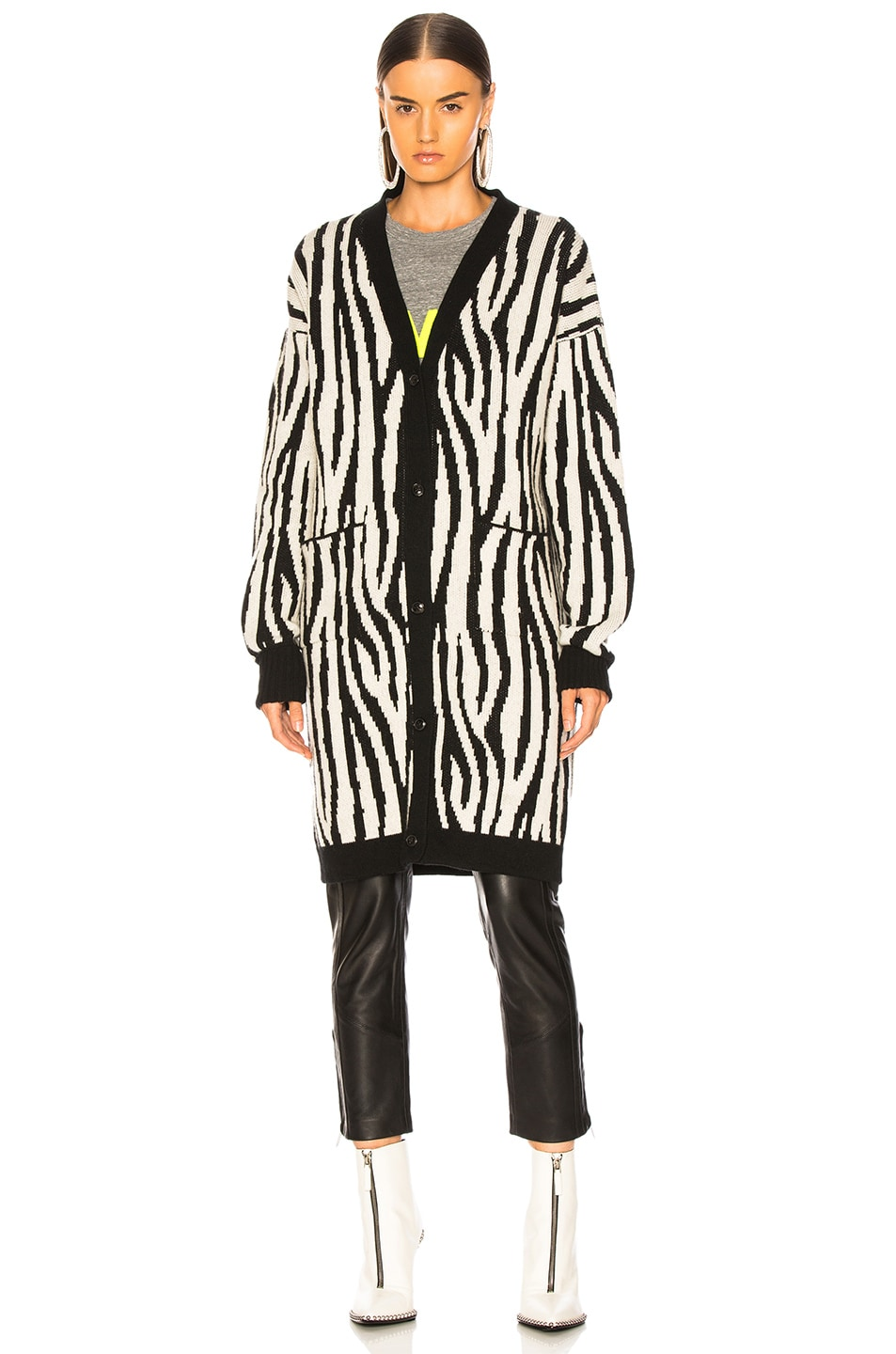 Image 2 of Amiri Zebra Long Cardigan in Black & White