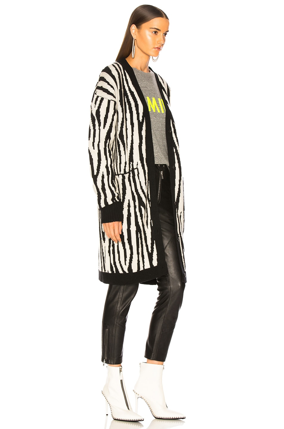 Image 3 of Amiri Zebra Long Cardigan in Black & White