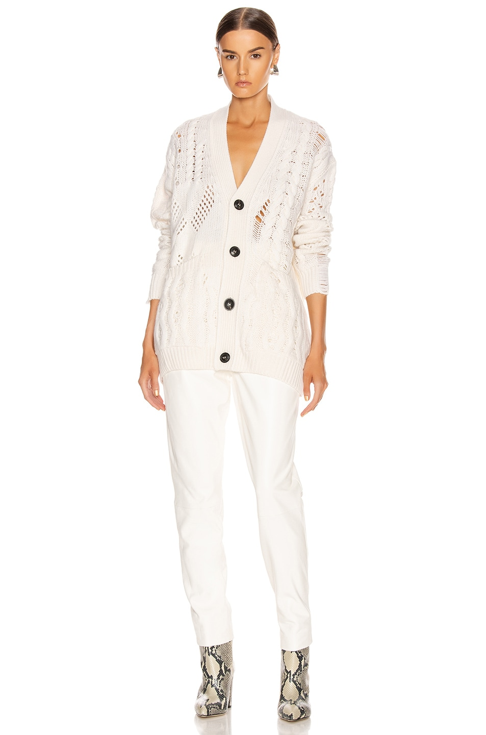 Image 4 of Amiri Multipoint Short Cardigan in Cream