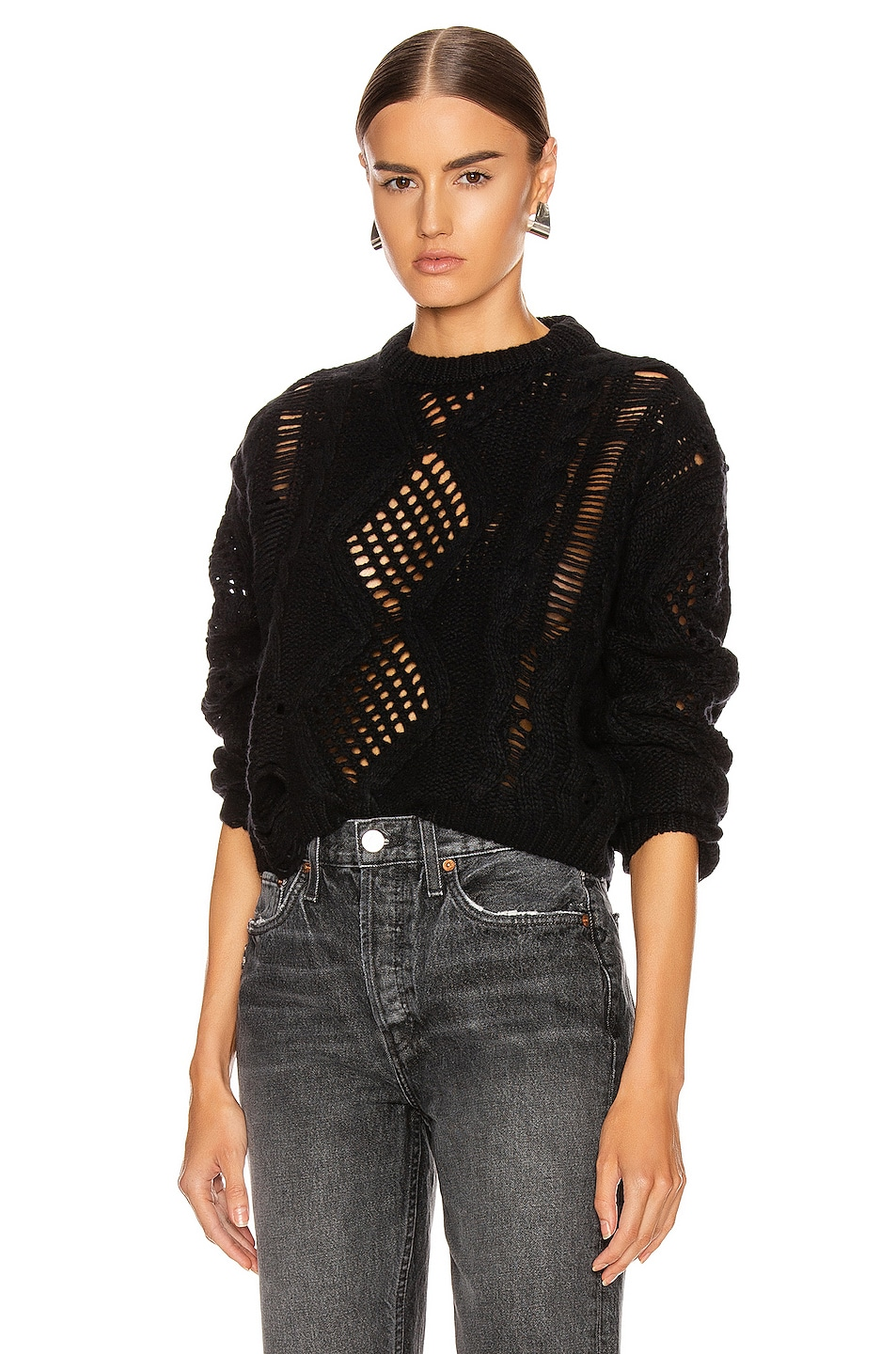 Image 1 of Amiri Cropped Sweater in Black