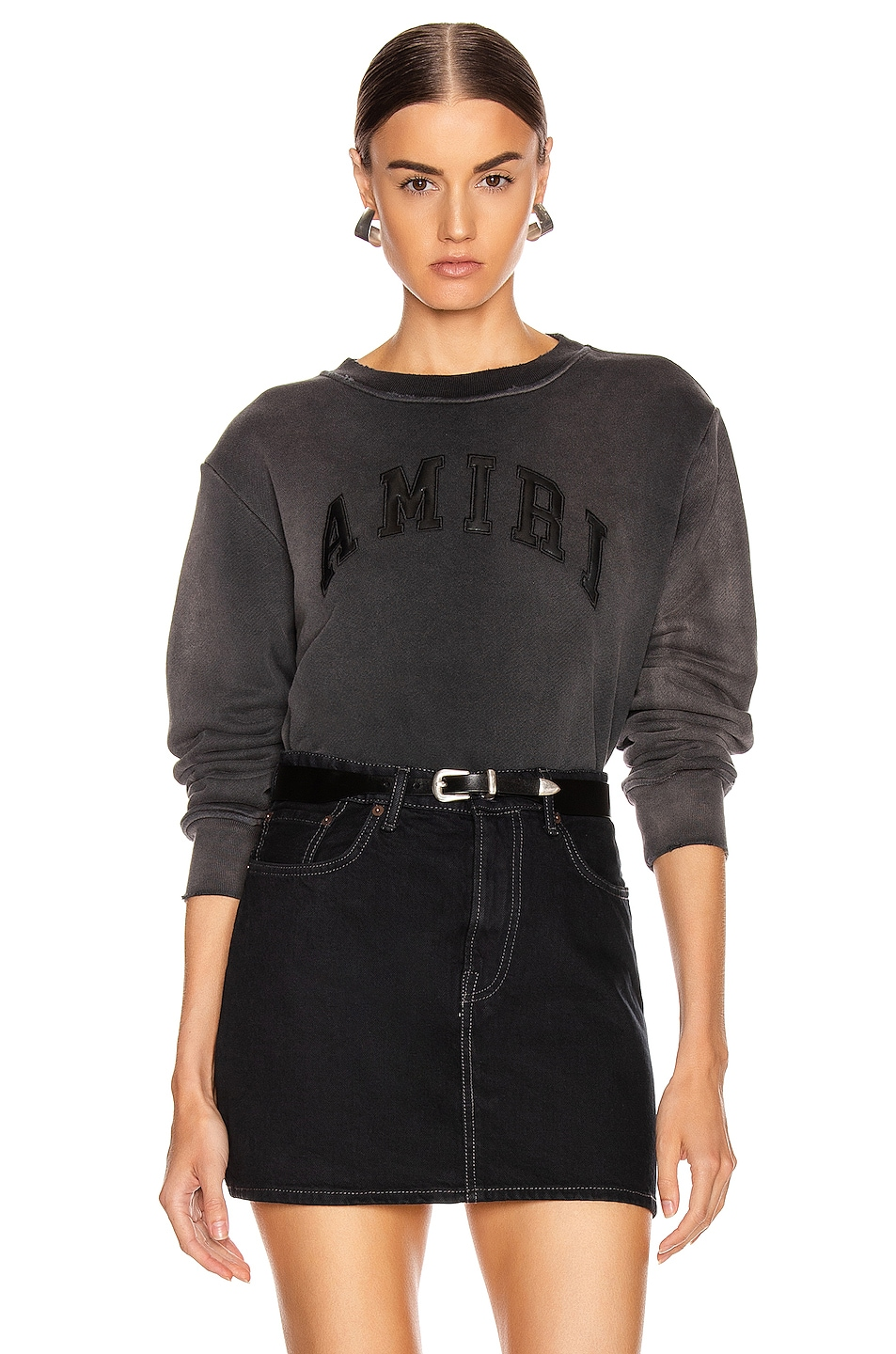 Image 1 of Amiri College Tonal Crewneck Sweatshirt in Washed Black