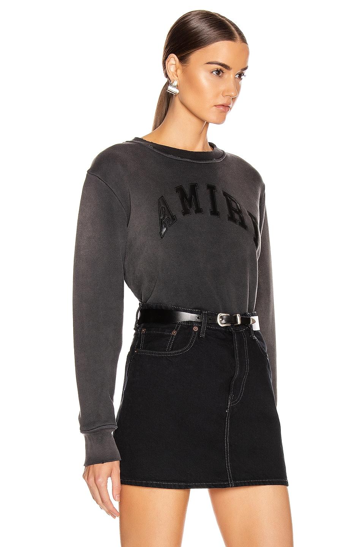 Image 2 of Amiri College Tonal Crewneck Sweatshirt in Washed Black