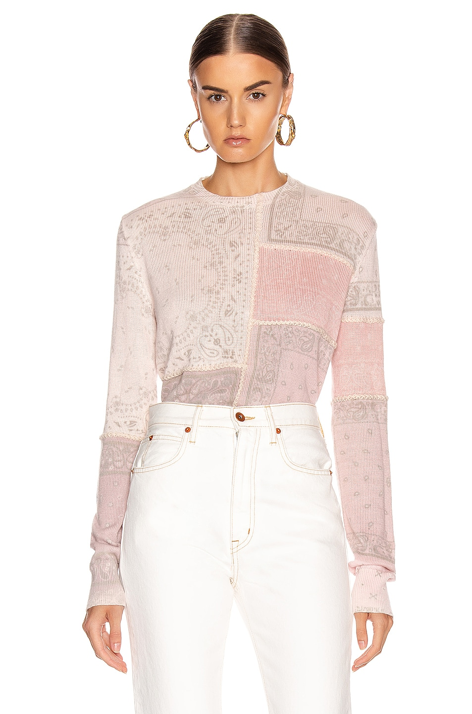 Image 1 of Amiri Bandana Reconstructed Sweater in Coral