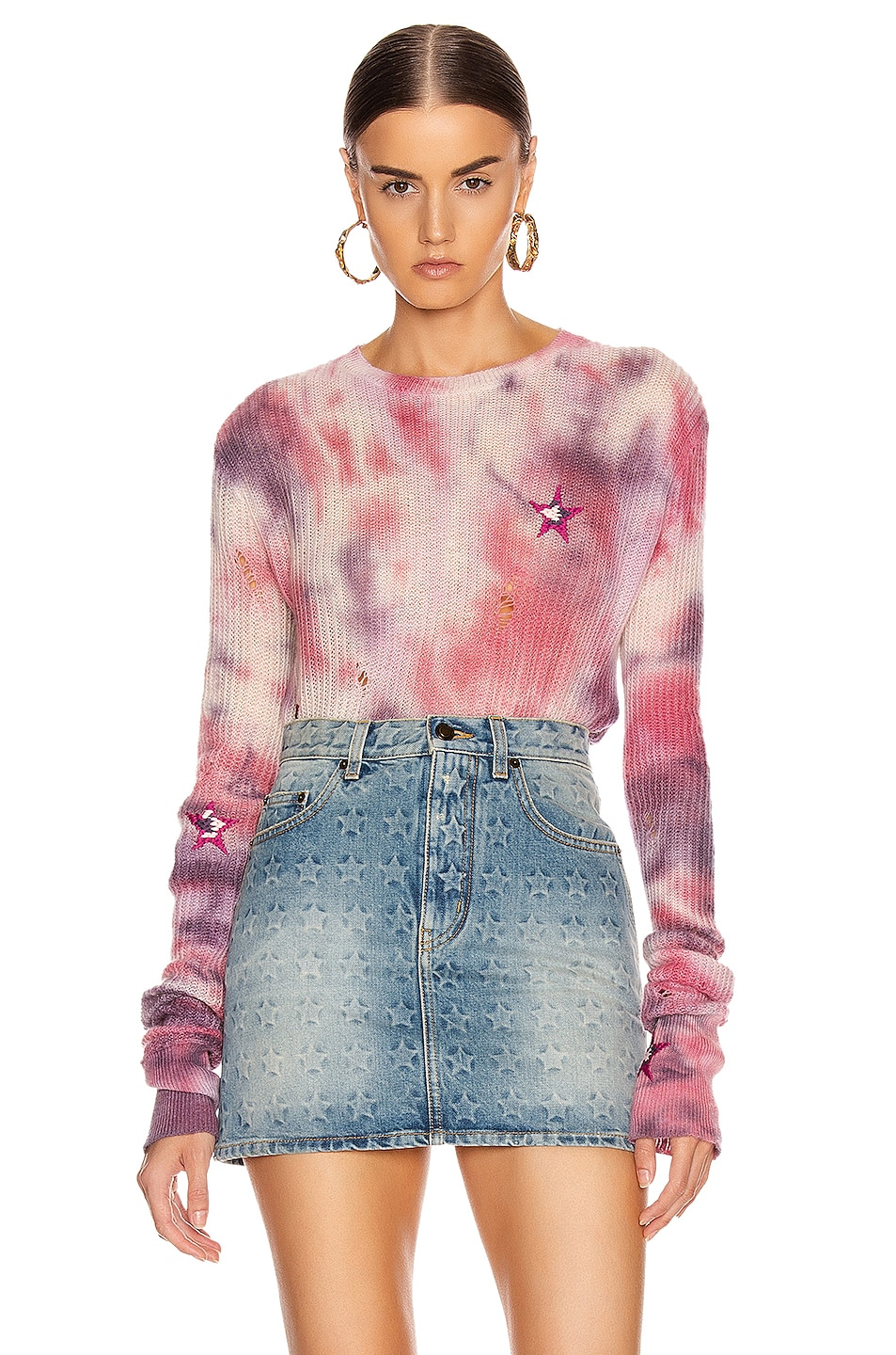 Image 1 of Amiri Tie Dye Stars Sweater in Multi Color
