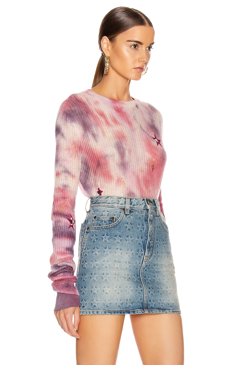 Image 2 of Amiri Tie Dye Stars Sweater in Multi Color