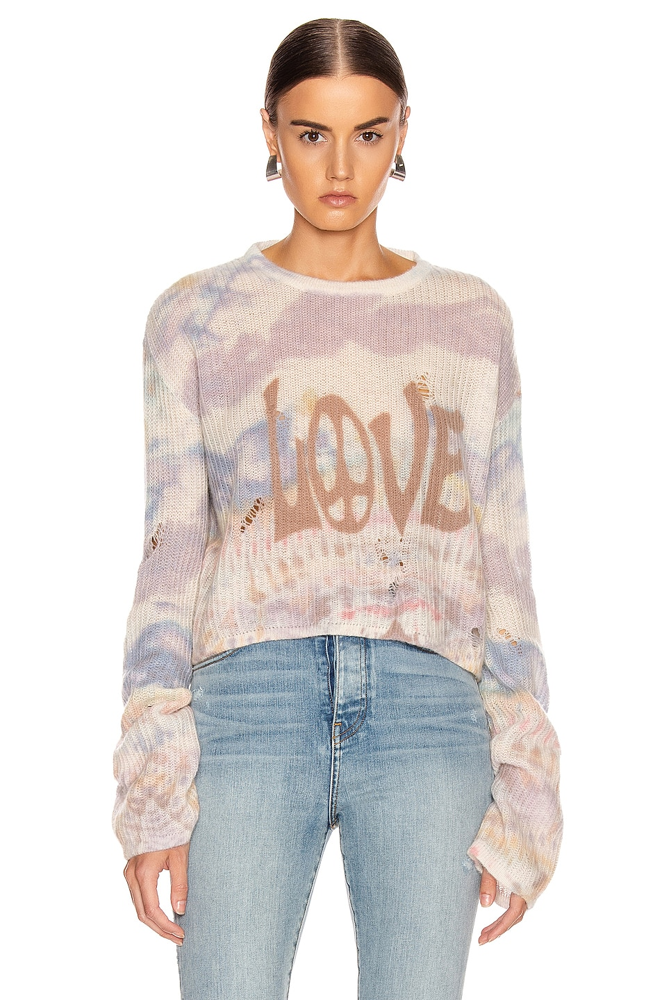 Image 1 of Amiri Tie Dye LOVE Sweater in Multi Color