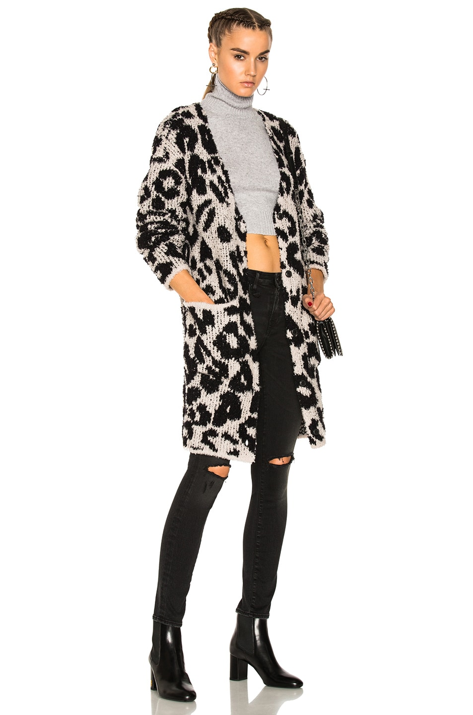 Image 1 of Amiri Leopard Cardigan in Snow Leopard