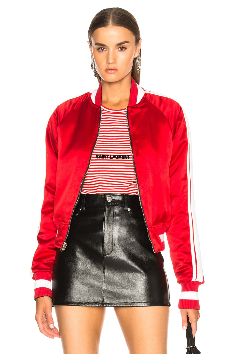 Reversible Silk Bomber Jacket with Leather