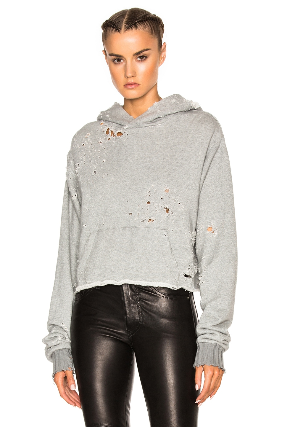 Image 1 of Amiri Shotgun Cropped Hoodie in Grey
