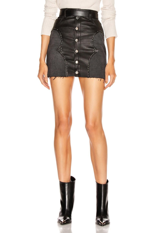 Image 1 of Amiri Western Mix Mini Skirt in Black
