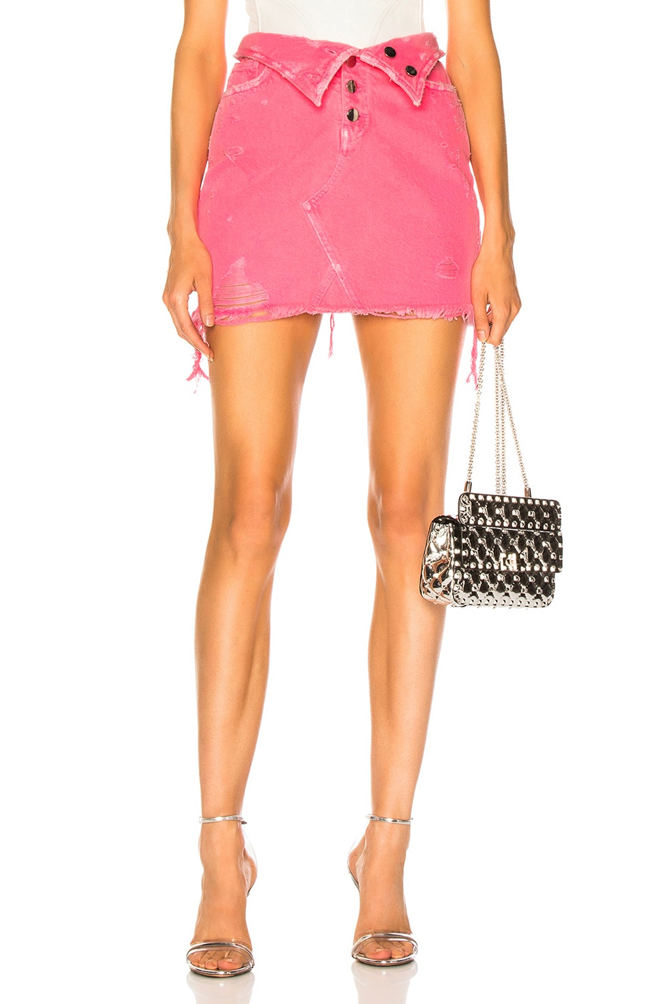 Image 1 of Amiri Fold Over Skirt in Neon Pink
