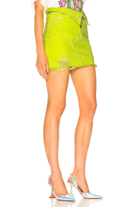 Image 2 of Amiri Fold Over Skirt in Neon Yellow
