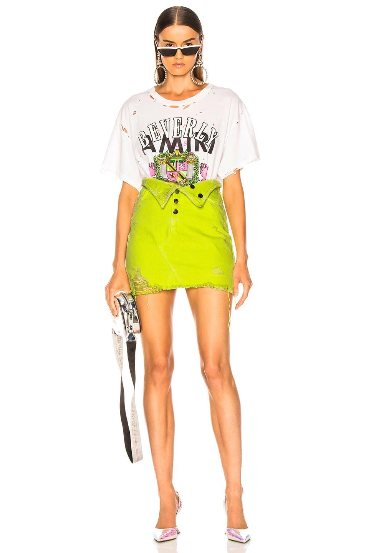 Image 4 of Amiri Fold Over Skirt in Neon Yellow