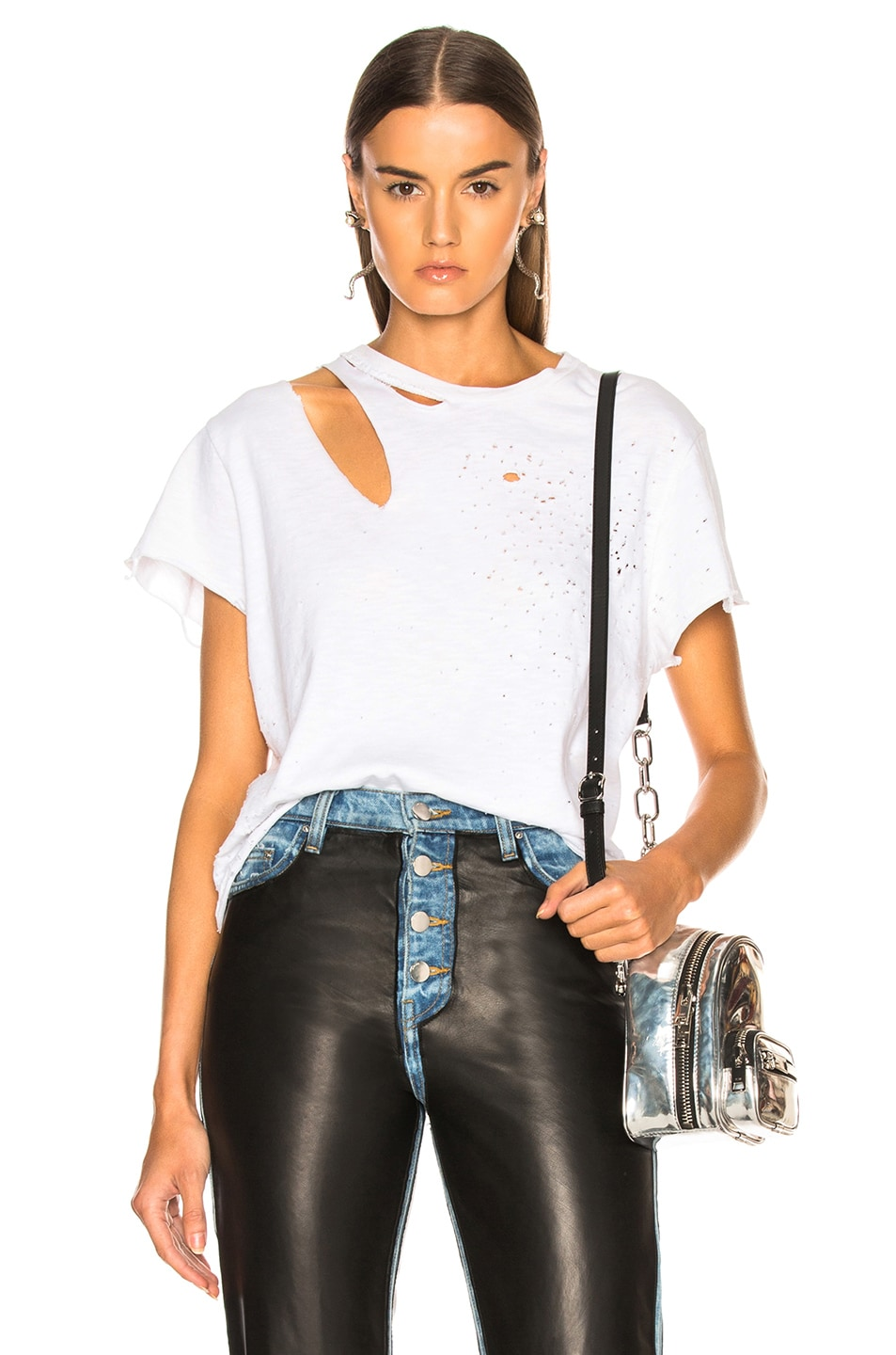 Image 1 of Amiri Cropped Slash Tee in White