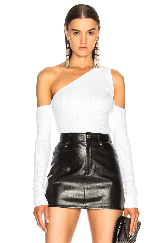 Amiri Off Shoulder Knit Top in White