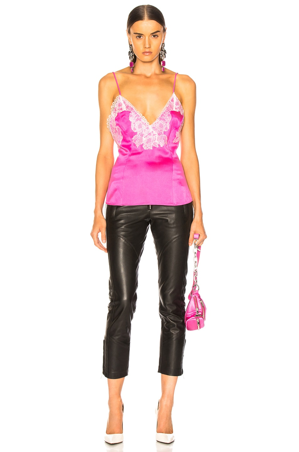 Image 4 of Amiri Lace Silk Slip Top in Neon Pink & White