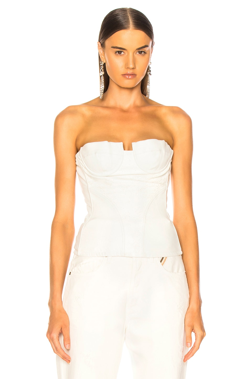 Image 2 of Amiri Lace Leather Corset Top in White