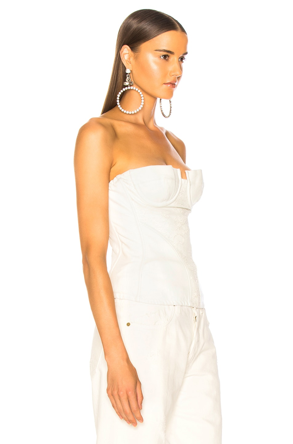 Image 3 of Amiri Lace Leather Corset Top in White