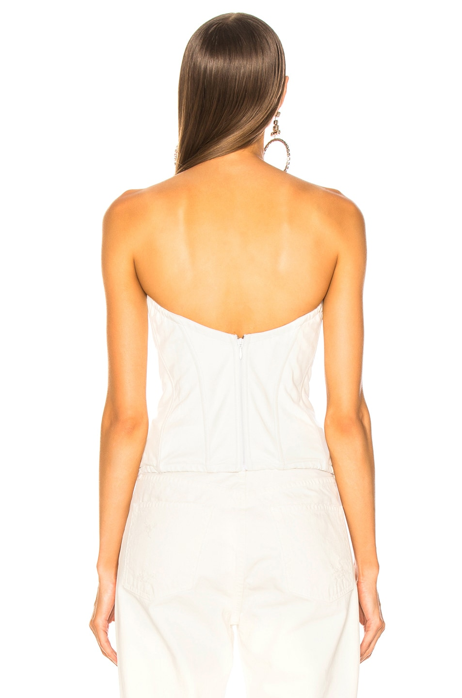 Image 4 of Amiri Lace Leather Corset Top in White