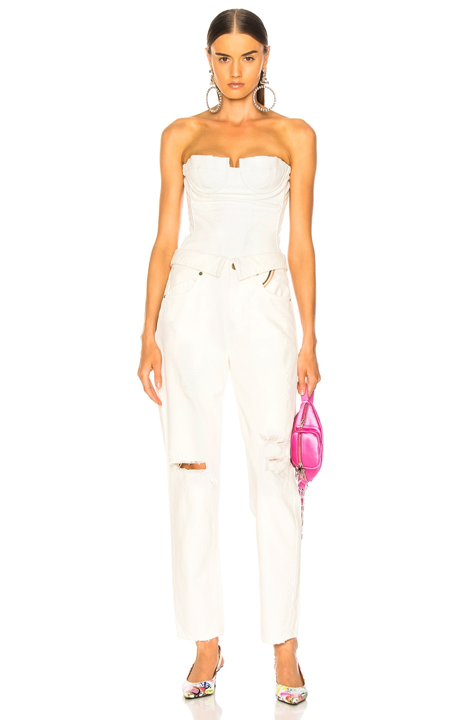 Image 5 of Amiri Lace Leather Corset Top in White