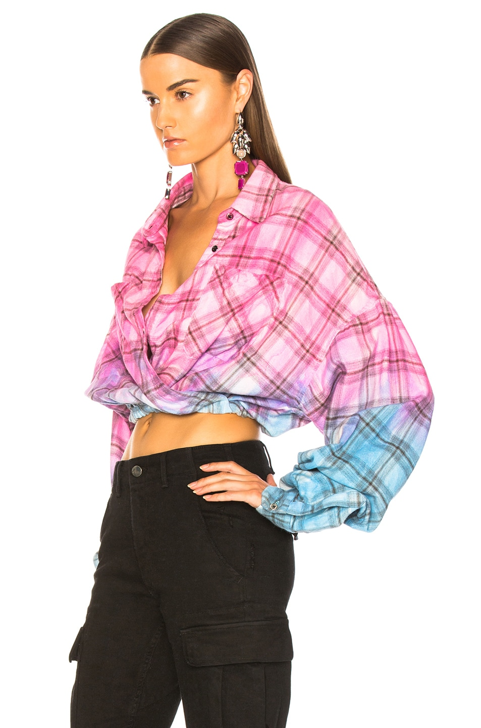 Image 3 of Amiri Plaid Crossover Oversized Shirt in Pink & Blue