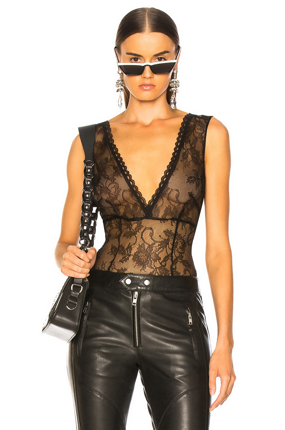Image 1 of Amiri Lacy Bodysuit in Black