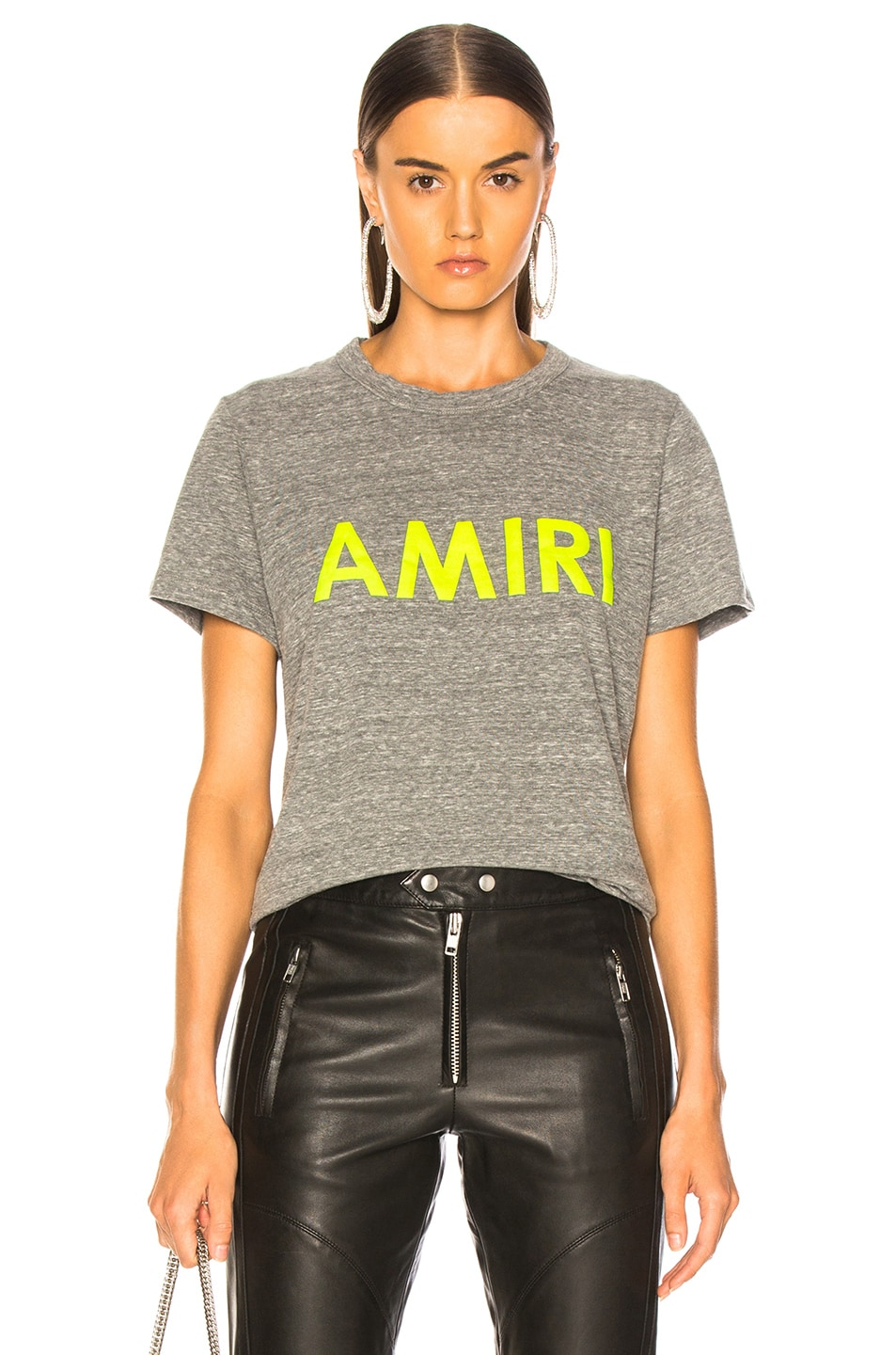 Image 1 of Amiri Tee in Heather Grey & Neon Yellow