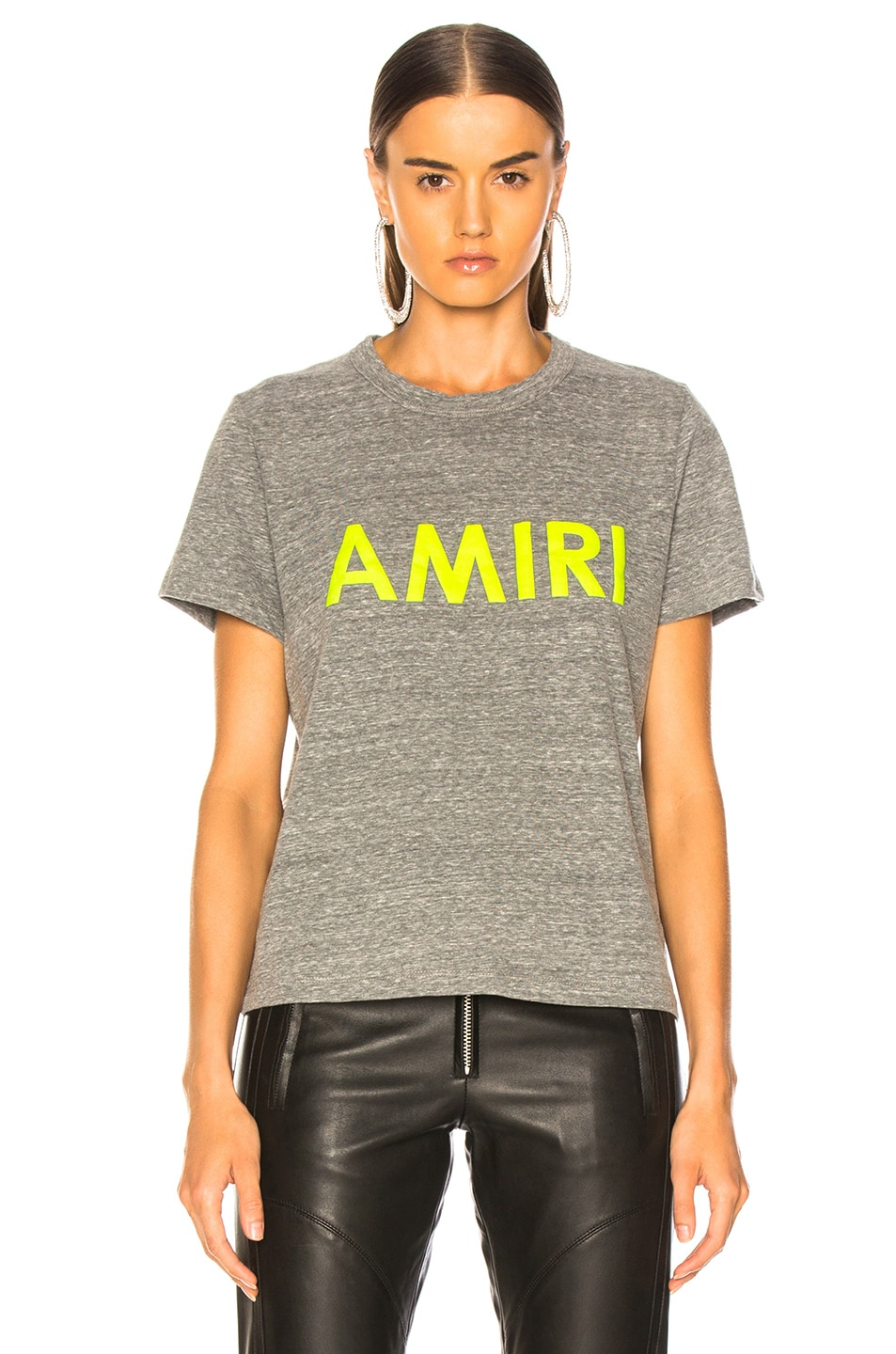 Image 2 of Amiri Tee in Heather Grey & Neon Yellow