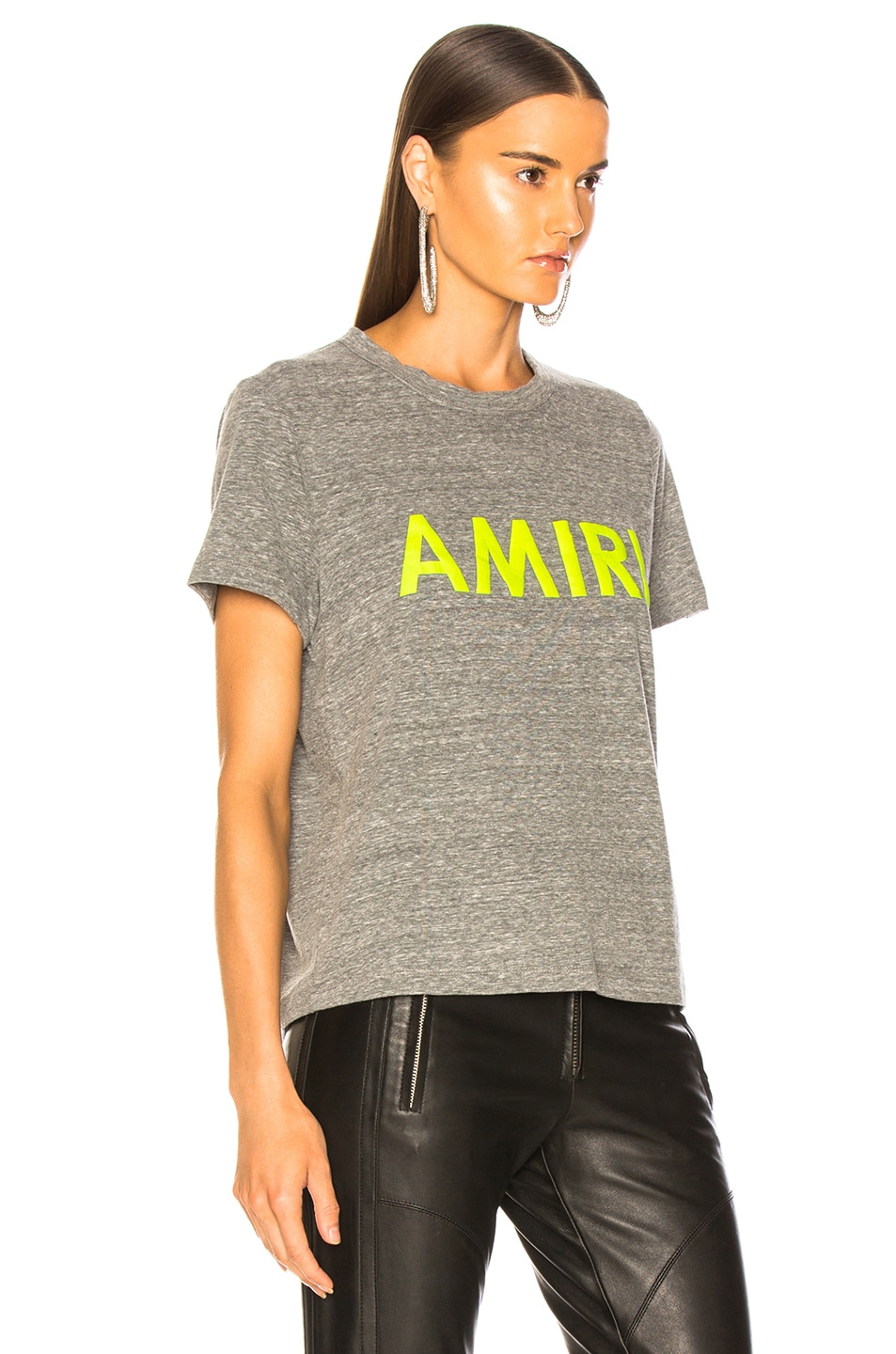 Image 3 of Amiri Tee in Heather Grey & Neon Yellow