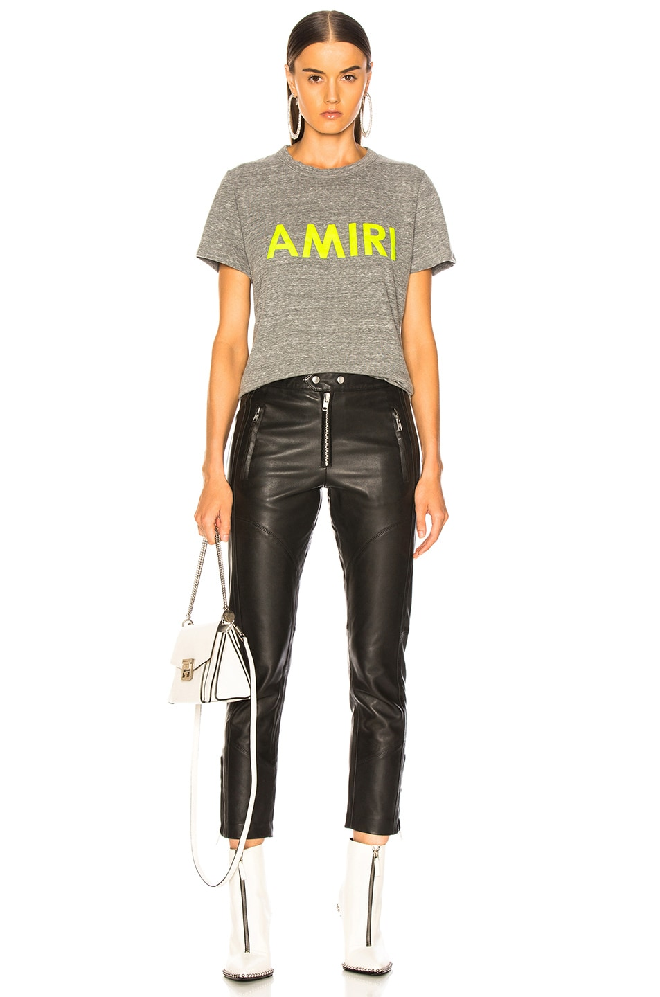 Image 5 of Amiri Tee in Heather Grey & Neon Yellow