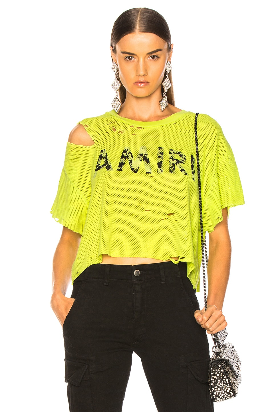 Image 1 of Amiri Star Mesh Cropped Tee in Neon Yellow