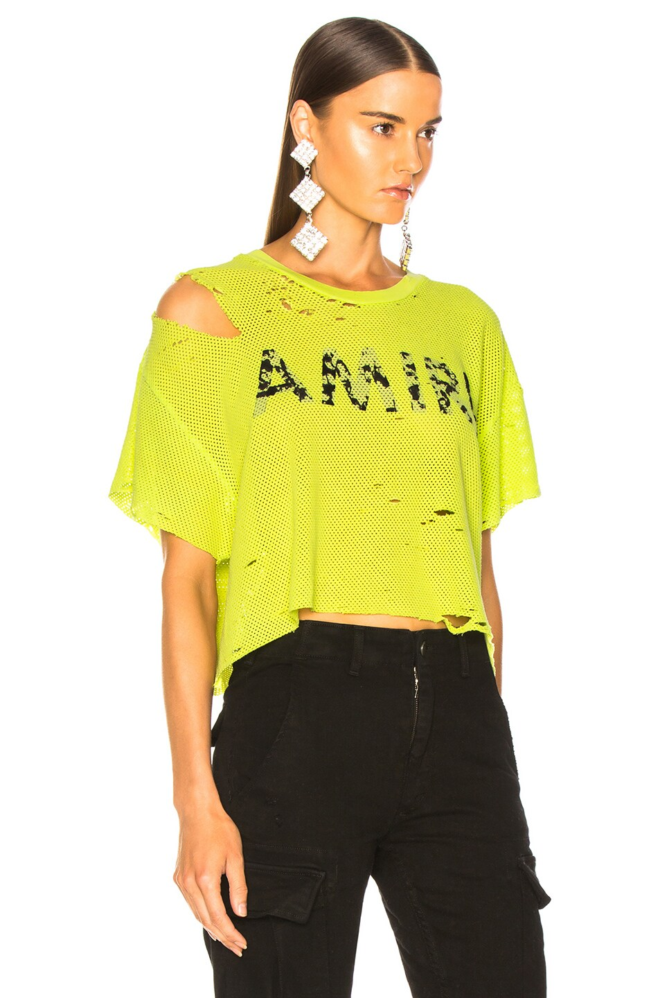 Image 2 of Amiri Star Mesh Cropped Tee in Neon Yellow