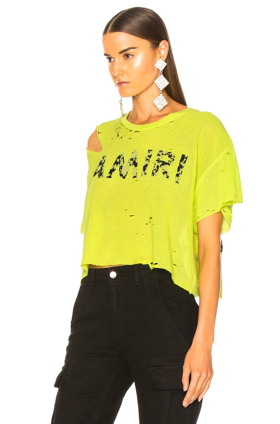 Image 3 of Amiri Star Mesh Cropped Tee in Neon Yellow