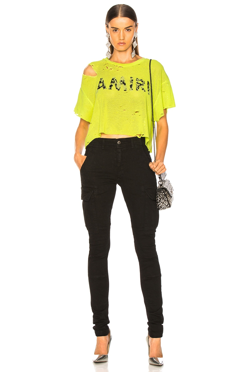 Image 5 of Amiri Star Mesh Cropped Tee in Neon Yellow