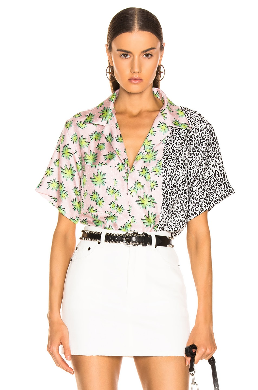 Image 1 of Amiri Split Palm Leopard Short Sleeve Shirt in Pink