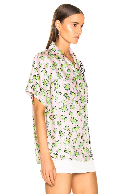 Image 3 of Amiri Split Palm Leopard Short Sleeve Shirt in Pink