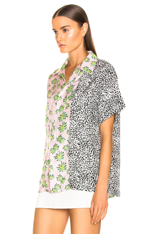 Image 4 of Amiri Split Palm Leopard Short Sleeve Shirt in Pink
