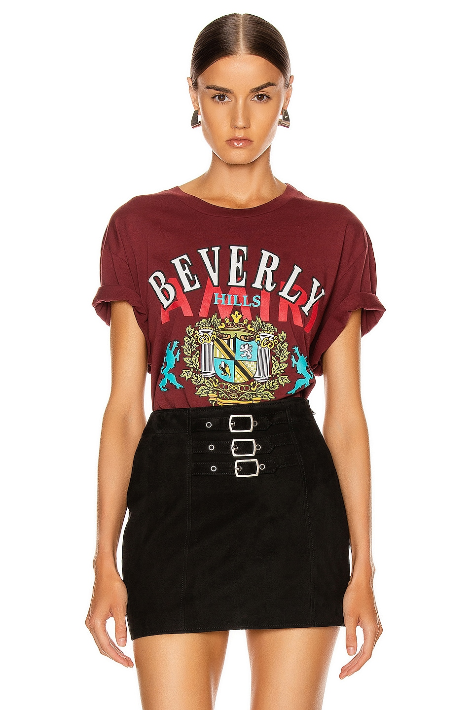 Image 1 of Amiri Beverly Hills T Shirt in Burgundy