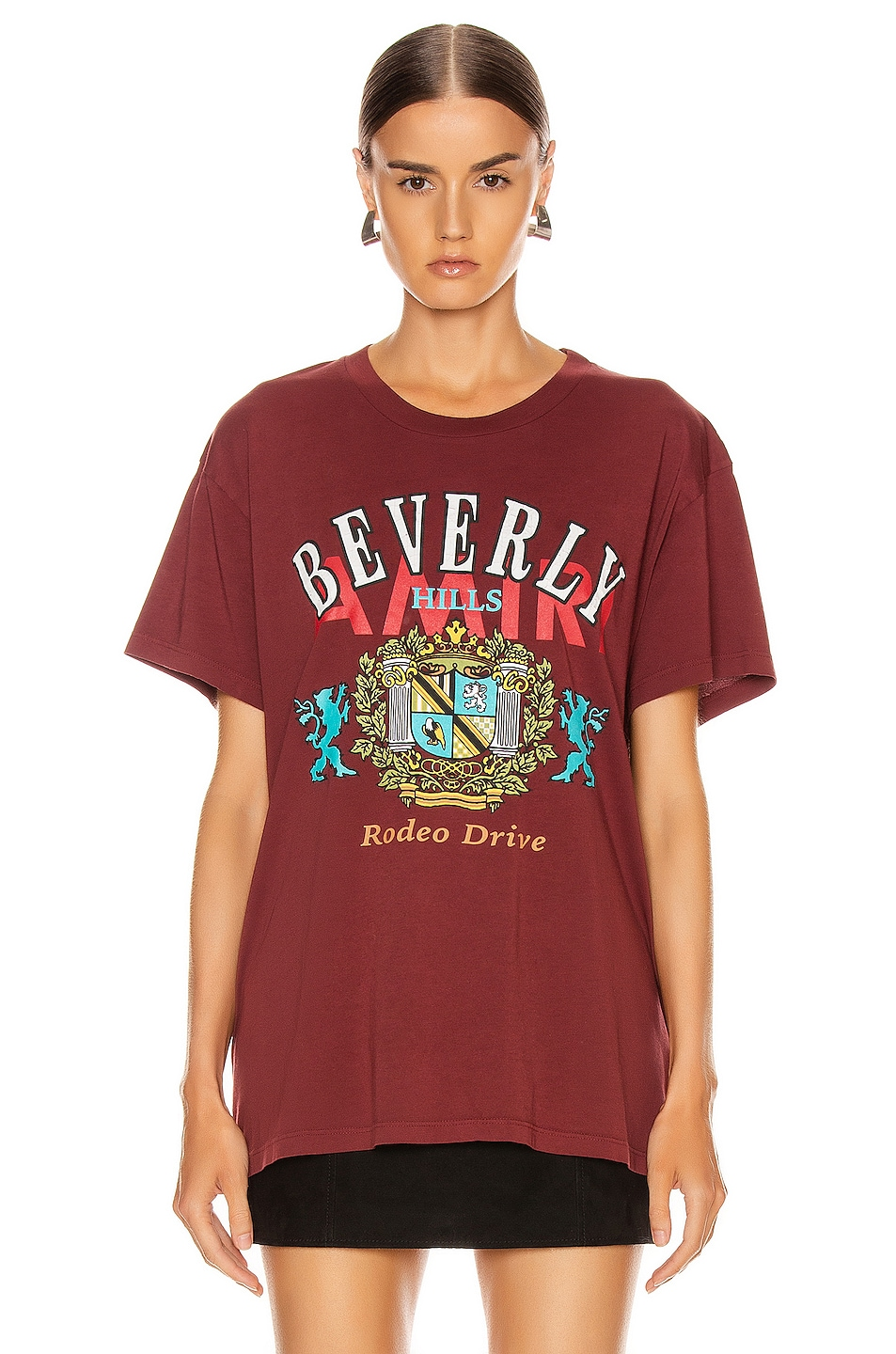 Image 2 of Amiri Beverly Hills T Shirt in Burgundy