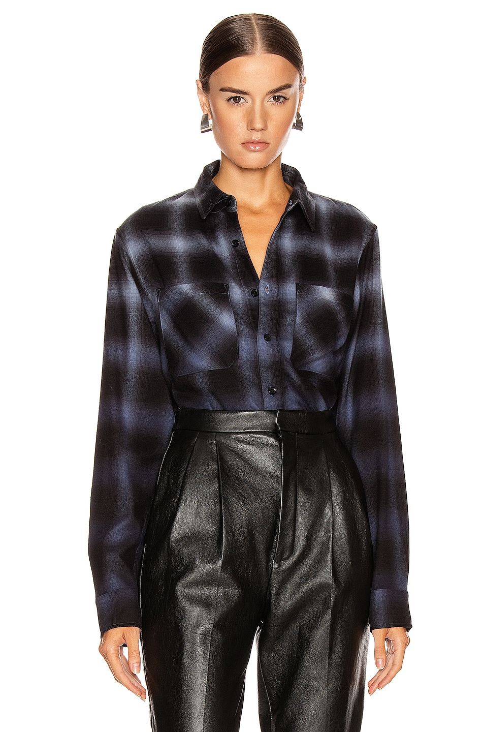 Image 1 of Amiri Ombre Plaid Shirt in Slate Blue