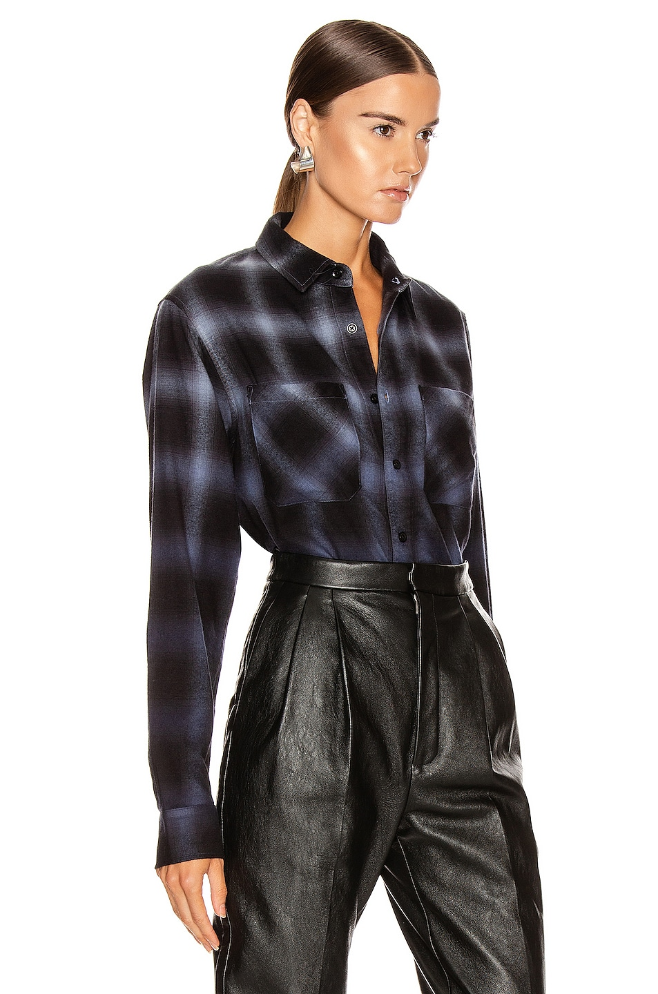 Image 2 of Amiri Ombre Plaid Shirt in Slate Blue