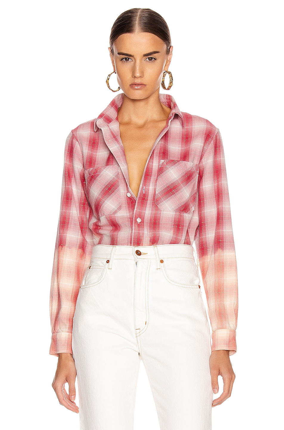 Image 1 of Amiri Ombre Lurex Plaid Flannel in Red