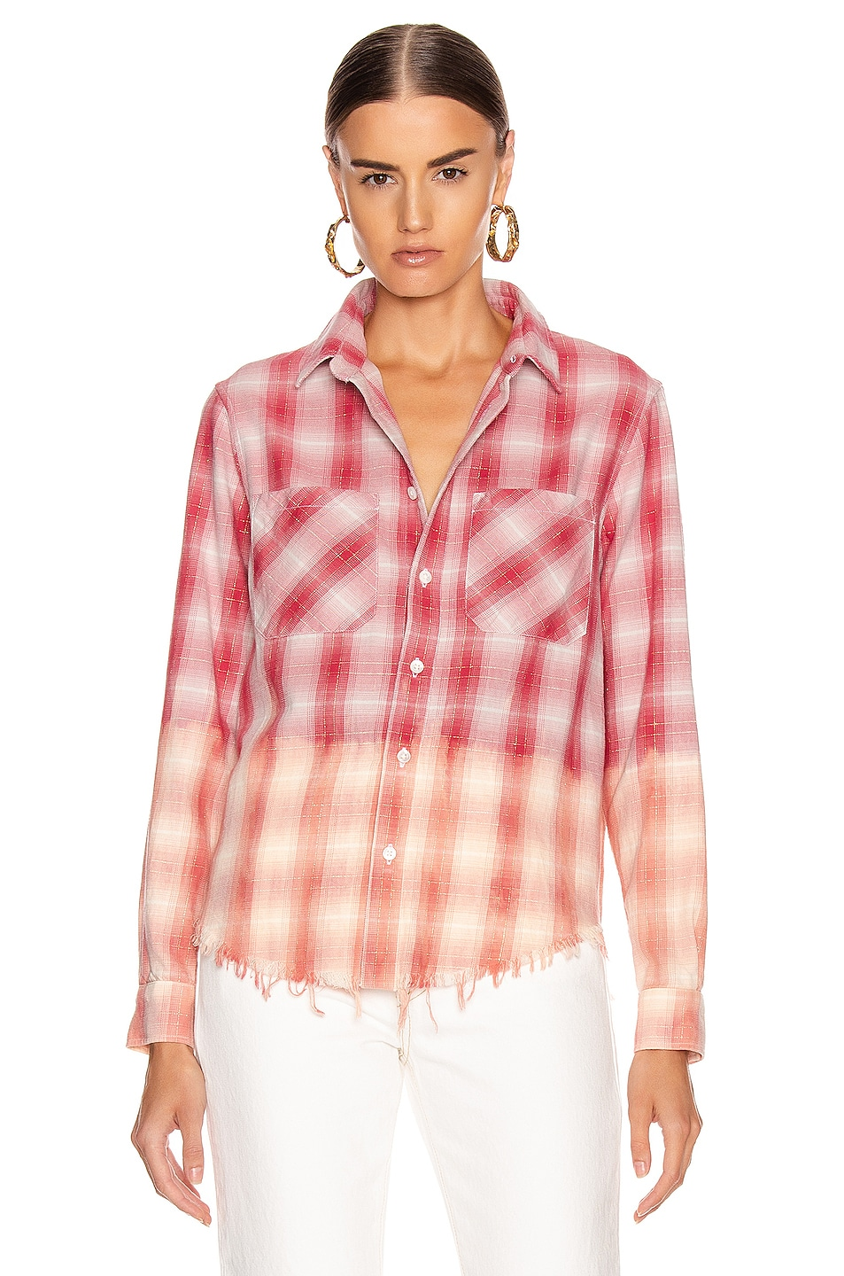 Image 2 of Amiri Ombre Lurex Plaid Flannel in Red