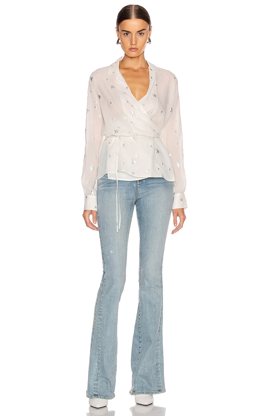 Image 4 of Amiri Stars Fil Coupe Wrap Top in Ivory