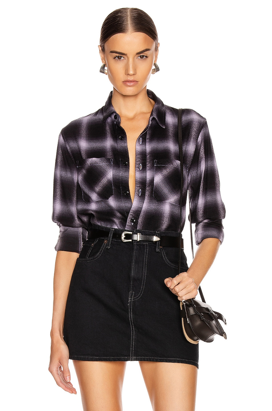Image 1 of Amiri Shadow Plaid Flannel in Lavender